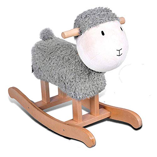 TYUXINSD Beautiful Lamb Sheep Solid Wood Children's Rocking Horse Trojan Children's Rocking Horse Toy Rocking Chair Gift (Color : White) (Color : Gray)