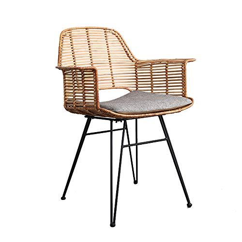 Silla de comedor de ratán sillón retro silla de comedor de cocina silla de maquillaje de dormitorio resistente al desgaste sala de estar en casa sillón de café silla de café 83 * 65 * 46 cm