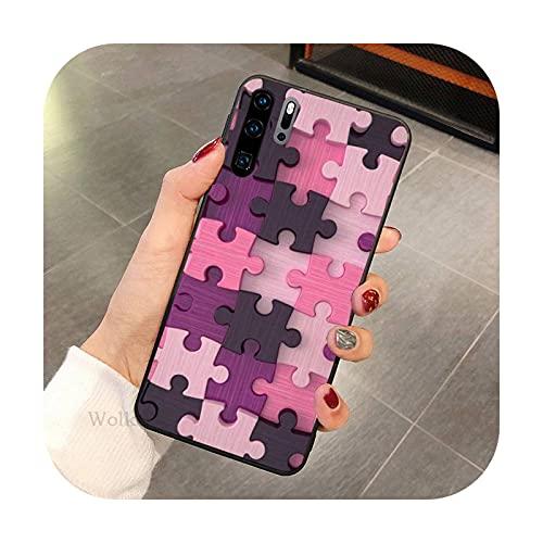 Moda colorido Puzzle teléfono caso para Huawei P9 P10 P20 P30 P40 MART Pro Lite TPU Cover-a1-Huawei P20 lite2019