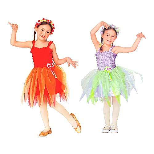 WIDMANN Disfraz infantil de hada bailarina, vestido, diadema con flores, 2 colores surtidos, nia de flores, princesa, carnaval, fiesta temtica