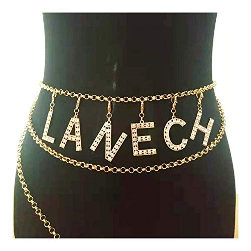 PENGHU KPSH Vintage Metall Bauch Taille Kette Kleid Accessoires Kreative Kristall Berühmte Buchstaben Gürtel Körperschmuck Geschenke für Frauen (Größe 4)