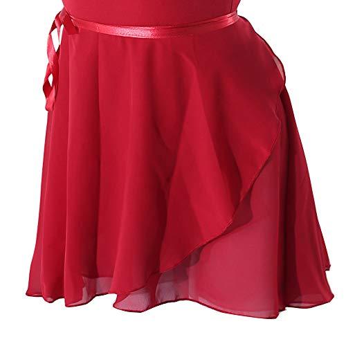 woosun Adult Ladies Ballet Wrap Over Scarf Dance Leotard Skate Tutu Skirt Chiffon 38cm Dark Red