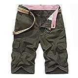 OPAKY Pantalones Cortos Verano para Hombres Aire Libre Color Puro Tallas Grandes Bolsillos Hombre Camuflaje Bermudas Cargo patalón Cargo Corto para Hombre