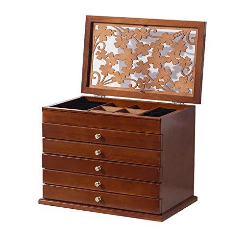 TYUIOO 6 strati di legno gioielli con specchio, coperchio a fogli mobili e 5 Scompartimento di Cassetti, la scatola di caso ad alta capacità Vintage Gioielli for bracciali, orecchini, anelli, niente s