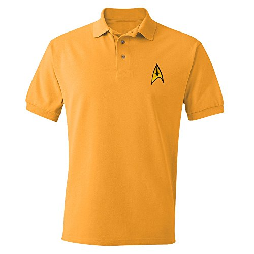 Star Trek Starfleet Uniform Erwachsene Command Gold Polo Shirt (Small)