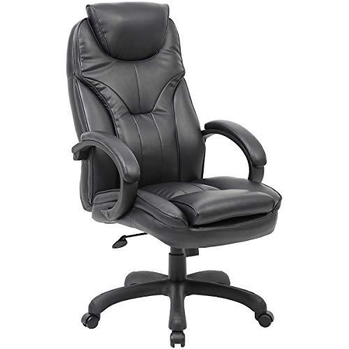 Chaise pivotante Toskana avec dossier haut et habillage cuir, coloris noir - Fauteuil cuir avec accoudoirs rembourrés - Chaise de bureau élégante avec roulettes pivotantes