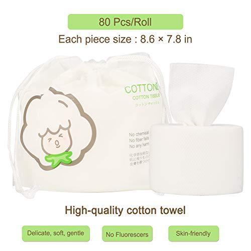 GothicBride Einweg Gesichtstuch 100% Baumwolle Non-Woven Baumwolle Weiches, Einwegwaschtuch, Sauber Weiches Tuch, Reinigungstuch , 80Stück für empfindliche Haut