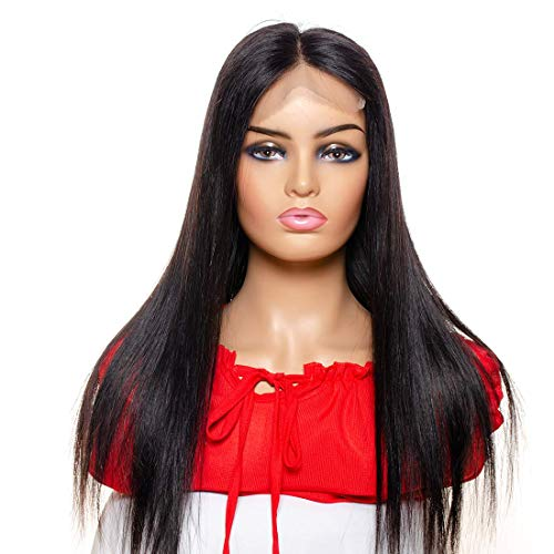 ZILING Glueless 5X5 Straight Lace Front Closure Wigs Brazilian Human Hair Lace Front Wigs For Black Women Pre Plucked With Elastic Bands (22 inch, 5X5 Closure wig)