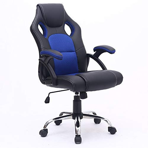 HHJJ Silla de Oficina Ejecutiva Racing Gaming Swivel PU Cuero Deporte Informática de la computadora (Azul) -5533W2R8H (Color : Blue)