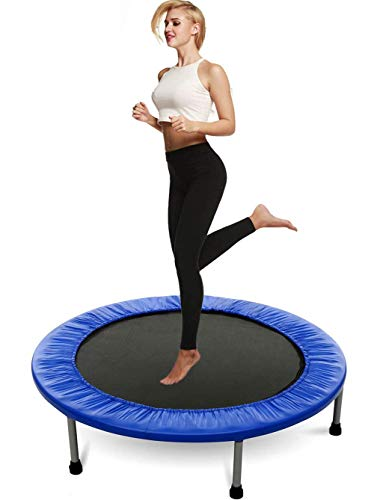 XGLL 39.3 Inch Mini Exercise Trampoline for Adults or Kids Indoor Fitness Rebounder Trampoline with Safety Pad Max Load 220LBS,Blue