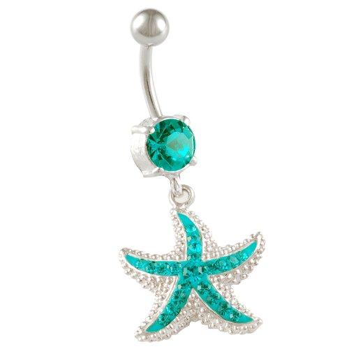 14 Gauge 10mm starfish belly button rings sexy dangle navel bar animal cute unique animal BEAG Starfish Blue Zircon
