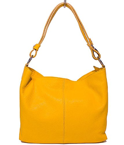 Bottega Carele Borsa Donna a spalla in vera pelle made in Italy BC214 (Giallo)