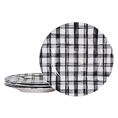 Bico Black and White Plaid Dinner Plates, Ceramic, Set of 4, for Pasta, Salad, Maincourse, Microwave & Dishwasher Safe