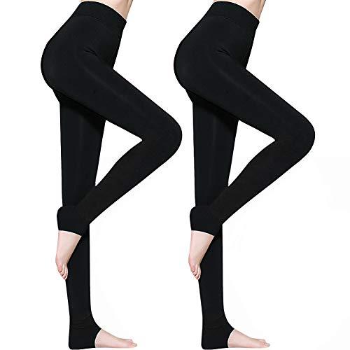 AimTop 2 Pack Leggins Termicos Mujer, Leggins Mujer Invierno Terciopelo Elástico Leggings Mujer Invierno, Mallas Termicas Mujer Pantalon Termico, Leggings Negros