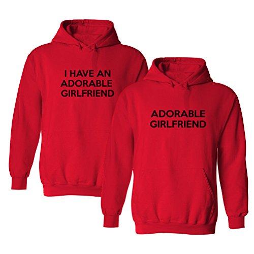We Match! I Have an Adorable Girlfriend Matching Couples 2-Pack Hooded Sweatshirt Set (Ladies Medium, Mens Medium, Red)