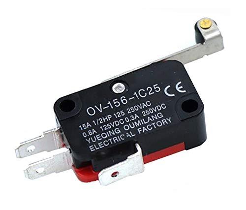 Kfdzsw Micro Interruptor 1pcs V-156-1C25 15A El Interruptor Micro Interruptor, Push BOTÓN SPDT Interruptor de límite de acción a presión momentáneo, Interruptor de Viaje,