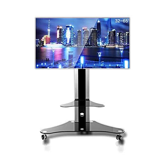 KBKG821 Universal-TV-Wagen, TV-Ständer für 32-65-Zoll-LCD-LED-Fernseher, 360 ° drehbar, mit Bremsmöbeln, Flachbildschirm-TV-Ständer und Unterhaltungskonsole, Büro zu Hause
