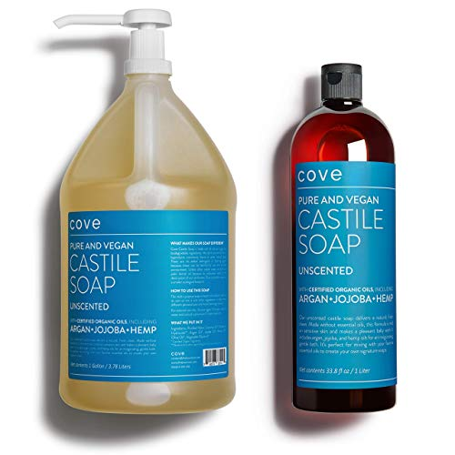 Cove Castile Soap Unscented - 1 Gallon + 1 Liter Bundle - Organic...