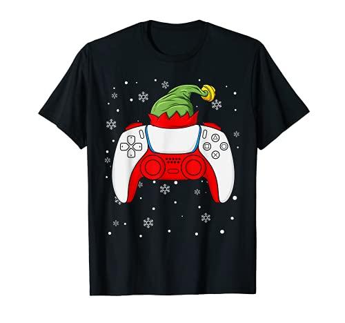 Elfo Navidad Gamer Controller Niños Niños Adolescentes Juegos Navidad Camiseta