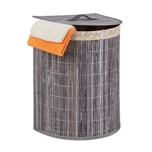 Relaxdays Cesto para la colada de bambú, 30 l, para baño y dormitorio, ahorra espacio, plegable, semicircular, con tapa, color gris
