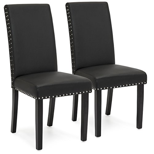 Best Choice Products Faux Leather Upholstered Nail Head Studded Parsons Dining Chairs, Set of 2, Black