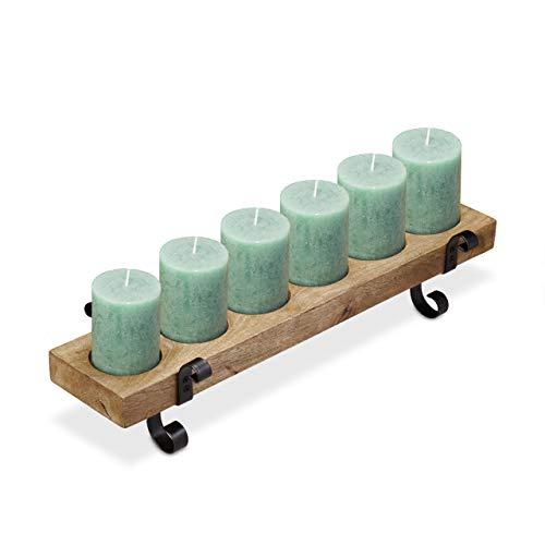 Relaxdays, houten kandelaar, 6 kaarsen, voor kaarsen met 8 cm Ø, vintage design, ijzer & mangohout, 61 cm, zwart, 14 x 61 x 19 cm