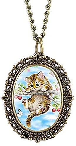 DNGDD Pequeño Gatito Lindo Colgante Reloj de Bolsillo de Cuarzo Mascota Gato Collar joyería Colgantes Gargantilla Collar de Cadena Regalos para Chico niñas niños