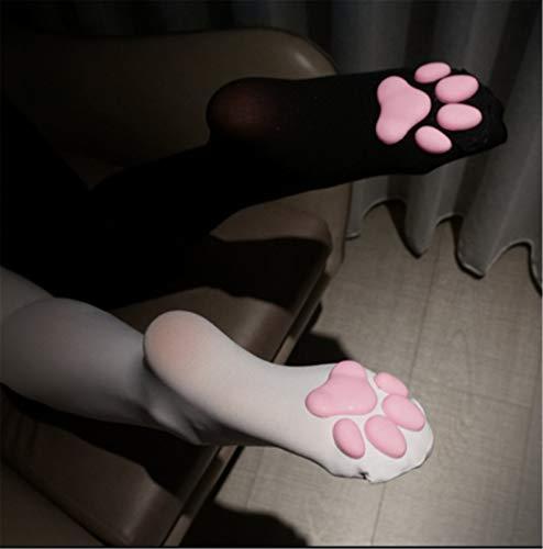 Cat Paw Pad Socken Oberschenkel hoch, süßes Katzenfleisch Kissen Cos Kniestrümpfe Cat Strümpfe Paw Overknee Socken, Cat Paw Pad Socken für Frauen Kätzchen Strumpf (Weiß)