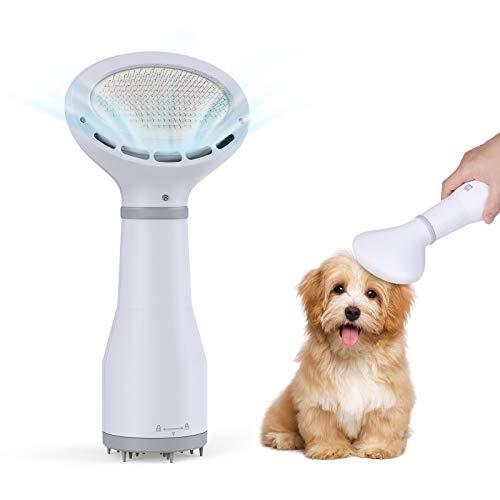 DADYPET Cepillo para Perros y Gatos, secador de Pelo para Perros y Gatos 2 en 1, secador de Viaje portátil, Velocidad Ajustable, para Perros pequeños y medianos (Blanco-Gris)