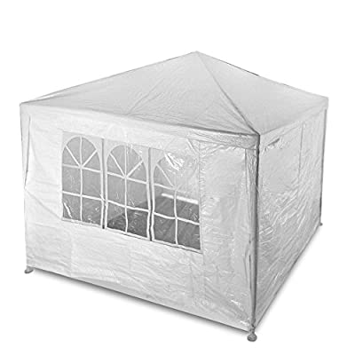 Flexzion Outdoor Party Wedding Tent 10'x10' (White) Canopy Pavilion Catering Events Easy Set Without Sidewalls for Camping BBQ Commercial Flea Market