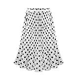 Sayhi Polka Dot Long Skirt Womens Pleated High Waist Midi Skirt Elastic Waist Skirt Long Summer Skirts for Women(White,XL)