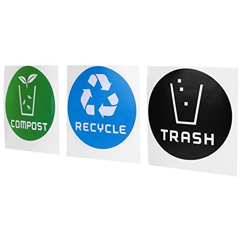 Omabeta Etiqueta engomada del Cubo de Basura Etiqueta plástica del Bote de Basura Etiqueta de la Basura Etiqueta de la Basura Reutilizable para latas de Aluminio