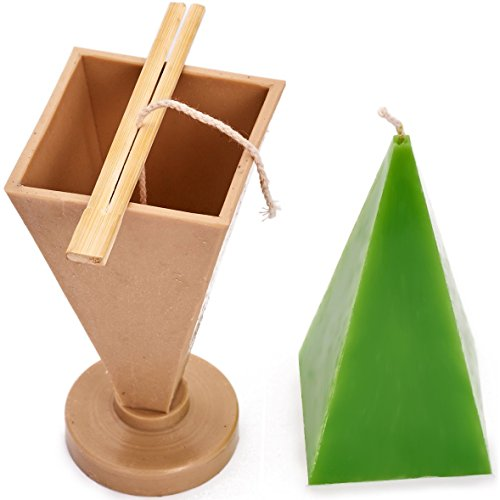 Candle Shop - Pyramid Mold - Height: 6.3 in, Width: 2.7 in - 30 ft. of Wick Included as a Gift - Plastic Candle molds for Candle Making