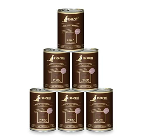 Escapure Hunde Nassfutter Dosen | Pferde Geschnetzeltes | mit Süßkartoffeln, Pastinaken, Flohsamenschalen und Rapsöl | in verschiedenen Größen (6 x 400g)