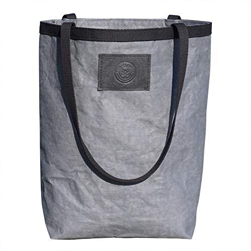 bun-di Swiss® Shopper Tasche STUFF BAG | hochwertige Damen-Handtasche | Einkaufstasche | Schultertasche aus dem waschbaren Trendmaterial PAPYR mit Lederoptik – 36 x 24 cm (VEGAN ANTHRACITE)
