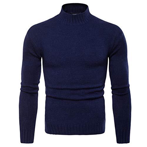 Legogo Herren Hoher Kragen Langärmelige Herbst und Winter Mode Sweatershirt(M,dunkelblau)