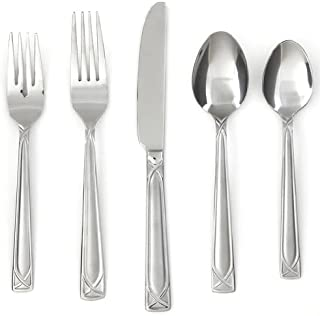 Cambridge Silversmiths Crossroad Sand 45-Piece Flatware Silverware Set, Stainless Steel, Service for 8, Includes Forks/Spoons/Knives