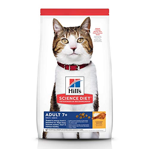 Hills Science Diet Dry Cat Food, Adult 7+ for Senior Cats, Chicken Recipe, 4 lb Bag