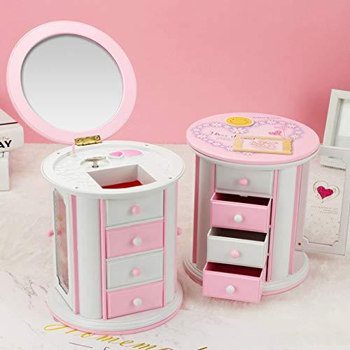 Hong Yi Fei-Shop-Cajas Musicales Joyero de música Rosa con 3 cajones extraíbles, Espejo de Maquillaje, Regalo para niña