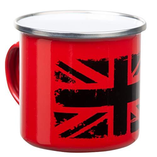 UK Emaille Tasse in rot | mit Union Jack Flagge Aufdruck in schwarz | leicht und bruchsicher | für England Großbritannien Fans | von MUGSY.de