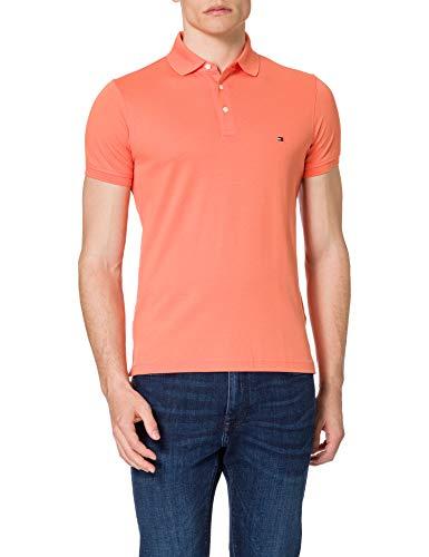 Tommy Hilfiger 1985 TH Flex Slim Fit Poloshirt Camiseta, Naranja (Puesta De Sol De Verano), M para Hombre