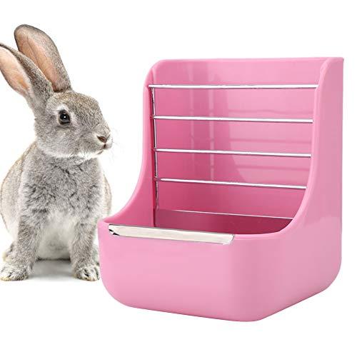 2 en 1 Marco de Hierba de Conejo Alimentador de Mascotas Dispensador de tazón de Comida Conejos Pastos Contenedor de Estante Alimentador de heno de Conejo para Animales pequeños(Rosa)