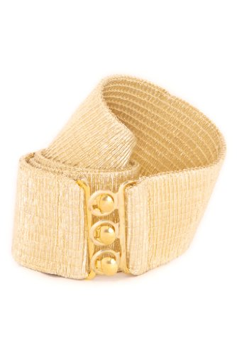 Malco Modes Luxury Vintage Elastic Cotton Covered Cinch Stretch Belt with Metal Hook and Eye Clasp Buckle (Gold, Medium)