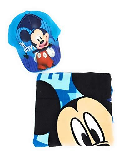 Poncho Mickey Mouse Toalla Playa o Piscina + Gorra Mickey Mouse Algodón para Niños (Azul)