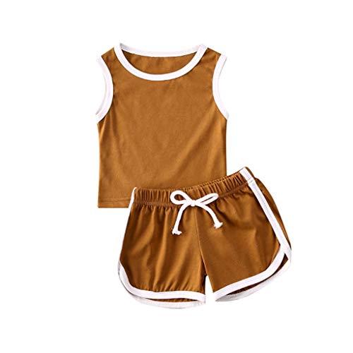 Allegorly Kleinkind Kinder Baby Mädchen Jungen Ärmellose Solid Tops Shorts Set Sport Wear Outfits Jungen und Mädchen ärmellose einfarbige Hemd Shorts Sportanzug