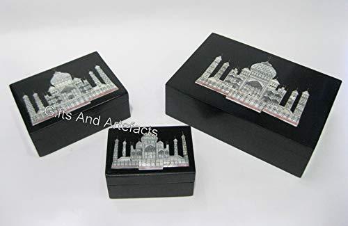 Juego de 3 piezas de caja de joyería de piedra negra Taj Mahal réplica de accesorios con incrustaciones de caja hecha a mano