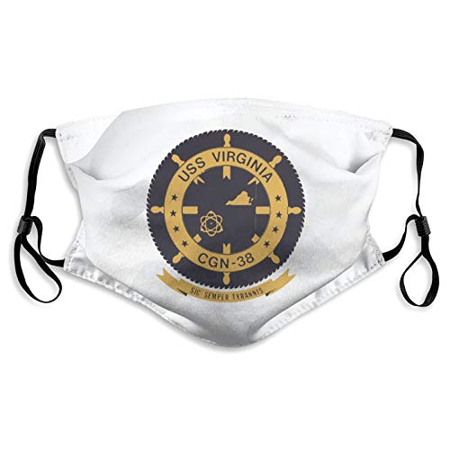 FNNMRTSJ Us Navy USS Virginia Cgn-38 Mask with Filters Nose Wire Dust Cloth Sports Face Cover for Men Women Washable