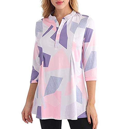 Frauen Patchwork Print V-Ausschnitt Knopfarmband Ärmel Retro T-Shirt Bluse ~ (Color : Pink, Size : XL)