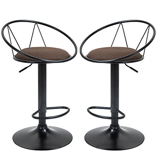 homcom Set 2 Sgabelli da Bar Girevoli con Poggiapiedi, Altezza Regolabile e Seduta Imbottita, 51x46x78-100cm, Marrone