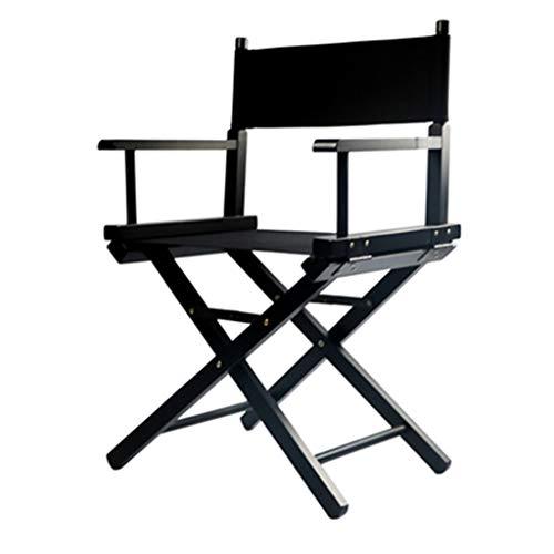 Stool Ladder- Chaise Pliante En Bois Massif - Chaise En Bois Loisirs Extérieurs Toile Chaise Bar Maquillage Bureau Chaise Pêche Plage Chaise Directeur Chaise (Couleur : NOIR)